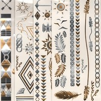 The Original Pretty in Ink - Metallic jewelry Flash Temporary Bling Tattoos (4 pack  Diamonds Leaves Birds Feathers)
