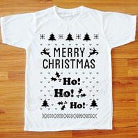 Ho Ho Ho Merry Christmas TShirt Santa Shirt Merry Christmas Short Sleeve Women T-Shirt Men T-Shirt Unisex T-Shirt White T-Shirt S, M, L, XL