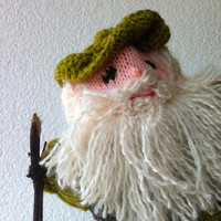 knitted shepherd hand puppet or bottle topper for christmas to be part of a Nativity set.