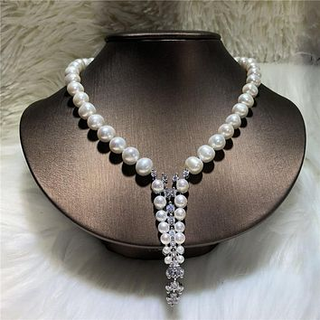 Freshwater pearl Cubic Zircon Necklace Statement
