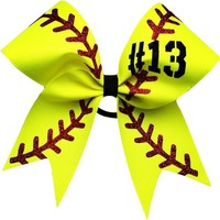 "Softball bow with your number. approximately 6""by6"". made with 2.25 grosgrain ribbon and glitter"
