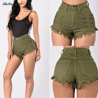Hot Shorts Summer Denim Ripped Women Destroye 50'S Vintage Ripped Hole Fringe  Ladies Causal High Waist Pocket Jeans  Punk SexyAT_43_3