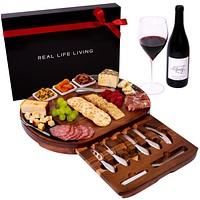 Large Round Charcuterie Board Set - Giftable 20-Piece Cheese Board and Knife Set - Wedding & Holiday Platter or House Warming Present - Acacia Wood & Slate Serving Tray for Meat, Wine & Cheese