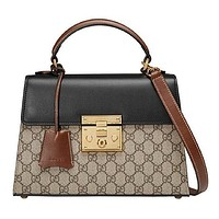 Gucci Popular Women Personality GG Letter Print Buckle Shoulder Bag Handbag Tote Bag I