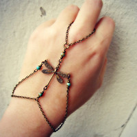 dragonfly slave bracelet with turquoise beads by alapopjewelry