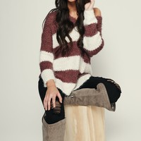 Keep It Straight Striped Sweater (Dark Plum/Ivory)