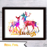 Always Harry Potter watercolor print Harry Potter colorful foil poster Harry Potter combined watercolor and foil decor Home decoration G97
