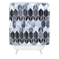 Elisabeth Fredriksson Blue Stained Glass Shower Curtain