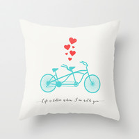 LIFE IS BETTER WHEN I'M WITH YOU - BIKE DESIGN Throw Pillow by Allyson Johnson