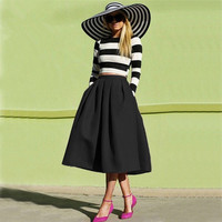 Fashion street style women's black casual vintage midi skirt = 1931689284