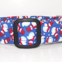 Christmas Dog Collar Blue with Red and White Snowmen