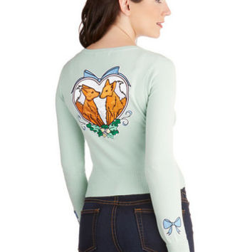 ModCloth Quirky Short Long Sleeve Endearment for Each Other Cardigan