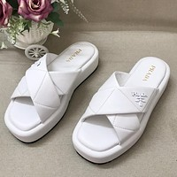 Prada new cross leather solid color sandals ladies casual slippers Shoes White