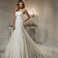 2012 Maggie Sottero Bridal - Ivory Lace & Beaded Strapless Fitted Natasha Wedding Gown - 0 - 28 - Unique Vintage - Cocktail, Evening & Pinup Dresses