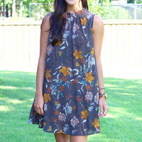Marigold Floral High Neck Dress {Navy Mix}