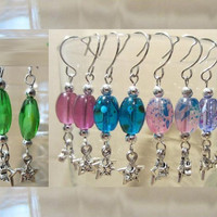 Double Silver Star Charm Fancy Glass Beaded Dangle Earrings, Handmade, Bright Colors, Fashion Jewelry, Charming
