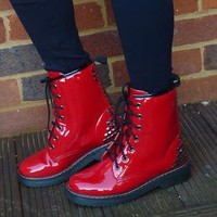 NEW IN: DM style Red ShinyPatent  Studded Boots from jabberwocky