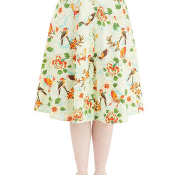ModCloth Vintage Inspired Long A-line Flora and Drama Skirt