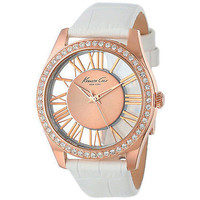 Kenneth Cole KC2728 Rose Gold Roman Numeral Dial White Leather Women's Watch