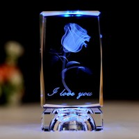 Valentine's Day 3D Laser Crystal Glass Cube Party LED Light Day