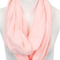 Light Weight Soft Infinity Solid Color Jersey Fashion Scarf Shawl Wrap Loop,One Size,Light Pink