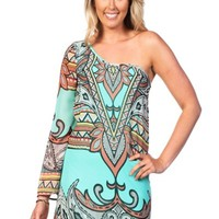 Mint Bandana Print One Shoulder Dress