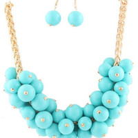 Ajustable Turquoise and Gold Cluster Beaded Necklace - Franco Chain