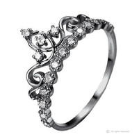 Jewels Obsession Dainty Black Rhodium-plated Sterling Silver Princess Crown Ring