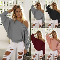 Women Sexy Off Shoulder Long Sleeve Knitted Loose Sweaters Autumn Winter Grey Pink Black Outwear Sweater Tops Clothes