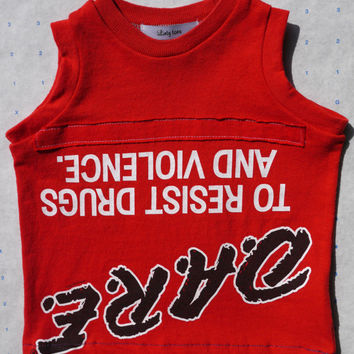Upside down D.A.R.E. boy girl baby tshirt red 3- 6 months