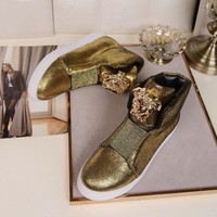 Kuyou Gx19712 Versace Golden Cow Leather Boots Shoes For Men And Women