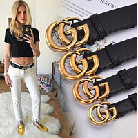 GUCCI hot-selling classic boys and girls exquisite GG smooth buckle belt