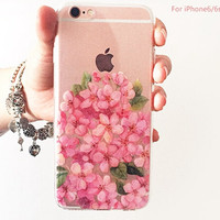 Pink Cherry Floral Transparent Iphone 6 plus 6s Cases