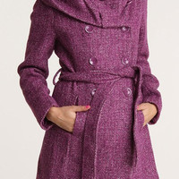 Purple Hooded Long Sleeve Peacoat with Belt