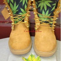 DCK7YE Custom Spiked Timberland Green Cannabis Leaves Timberland Boots