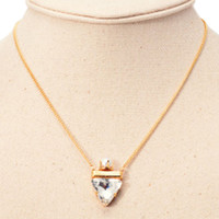 Golden Pearl And Triangle Pendant Chain Necklace