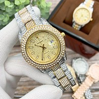 Rolex new luxury full diamond fashion men's and women's steel band watches