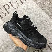 Balenciaga Fashion Modern Pure Black White Letter Sport Running Jogging Shoes Couple Sneakers I