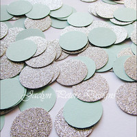 Glitter Confetti, Silver And Mint Green, Party Supply, Wedding Decoration, Bridal Shower, Table Scatter, Sweet 16 Party, One Inch, 150 Piece