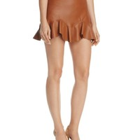 Rebecca Taylor Faux-Leather Flounce Skirt | Bloomingdales's