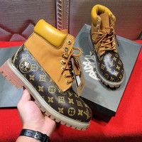 LOUIS VUITTON x Timberland Men's Sneakers Leather Winter Boots - Best Deal Online
