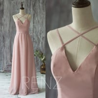 2016 Long Chiffon Bridesmaid Dress Straps, Dusty Rose Wedding Dress, V Neck Spaghetti Strap Prom Dress, Evening Gown Floor Length (T159)