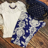 Deep in the Lace Long Sleeve Top: White