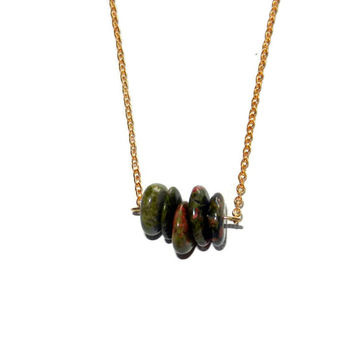 Green and Gold Necklace, Unakite Necklace