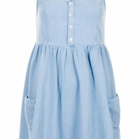 PETITE MOTO DENIM BABYDOLL DRESS