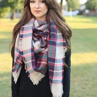 Ivory and Fuchsia Blanket Scarf