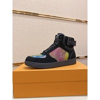 lv louis vuitton trending womens men leather side zip lace up ankle boots shoes high boots 228