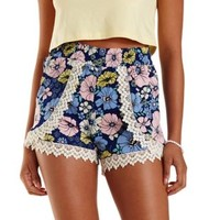 Multi Crochet-Trim Floral High-Waisted Shorts by Charlotte Russe