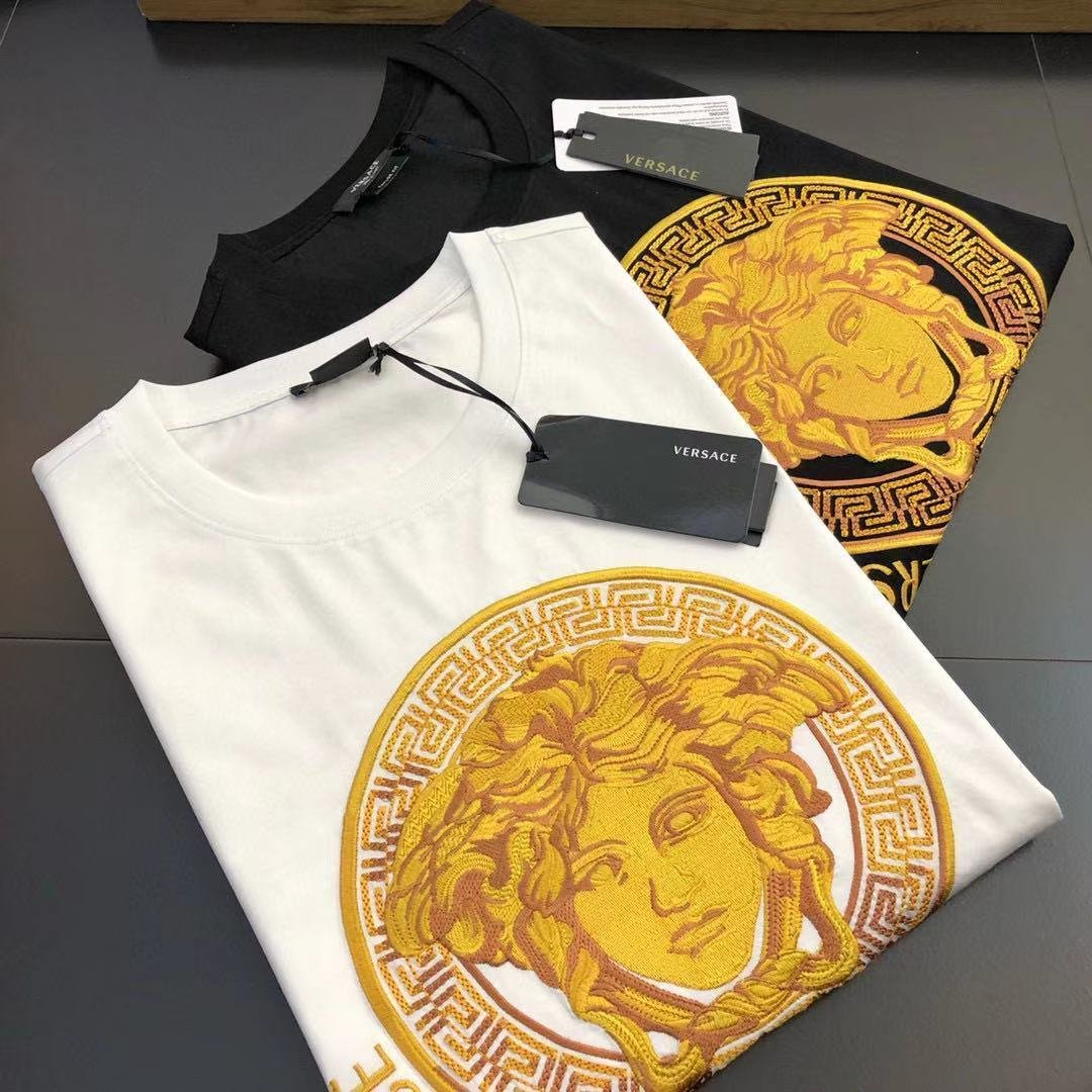 Image of Versace summer new embroidered letters round neck short-sleeved T-shirt