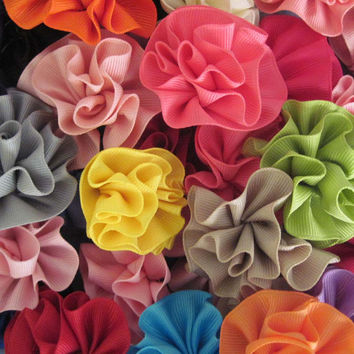 One Carnation Hair Bow - Your Choice of Color, Flower Hair Bow, Girls Hair Bow, Grosgrain Hair Bow, Girls Hair Acessory, Flower Hair Clip